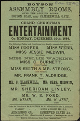 Poster advertising a Grand Christmas Entertainment at the Boyson Assembly Rooms